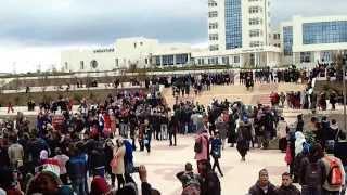 إحتفالات طلبة جامعة سطيف بفوز المنتخب الوطني
