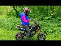 ESCAPE GRANNY HOUSE in real life! Den ride on Kids Pocket Bike in forest. Horror for children