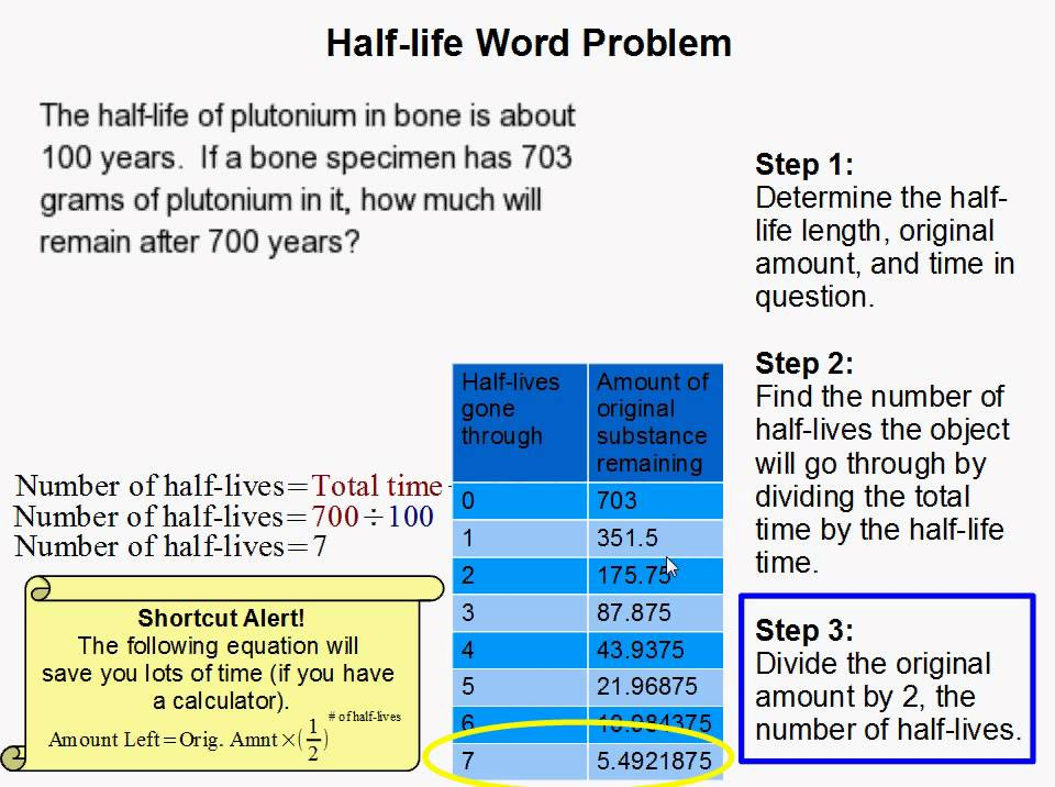 ... Half Life Calculations Worksheet how to do a half life word problem