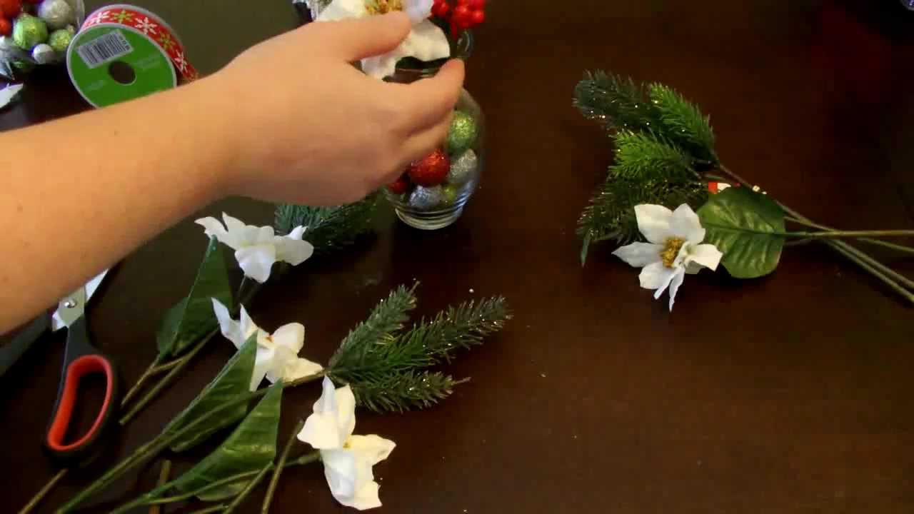DIY How to make a SMall Christmas Floral Arrangement - YouTube