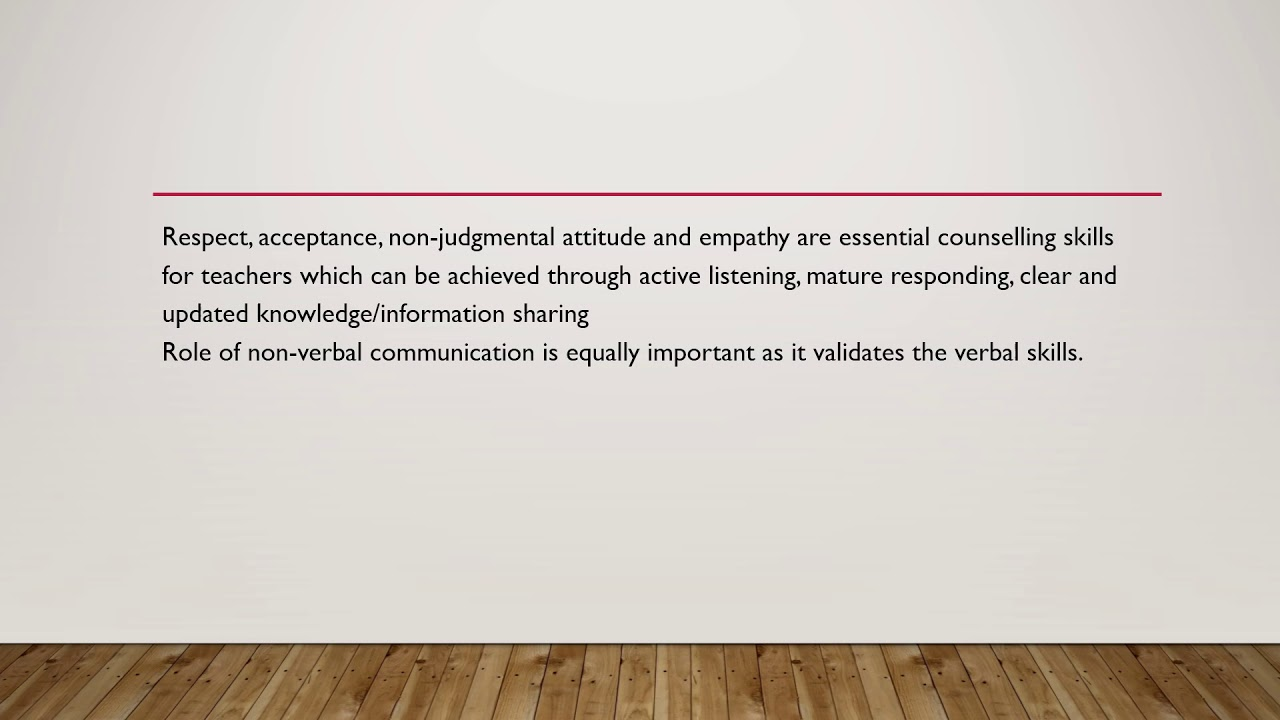Verbal communication in counselling