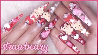 🍓Teddy Bear, Strawberry & Hearts 3D Art | Acrylic Nails Tutorial🍓