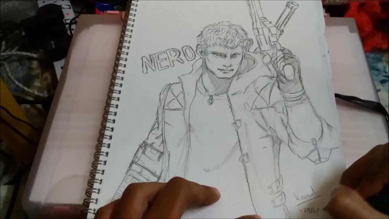 Part 1 pencil sketching nero devil may cry 5