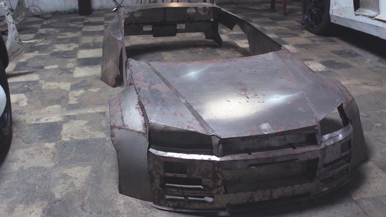 Fazendo carroceria de METAL SKYLINE GTR 34 parte 3