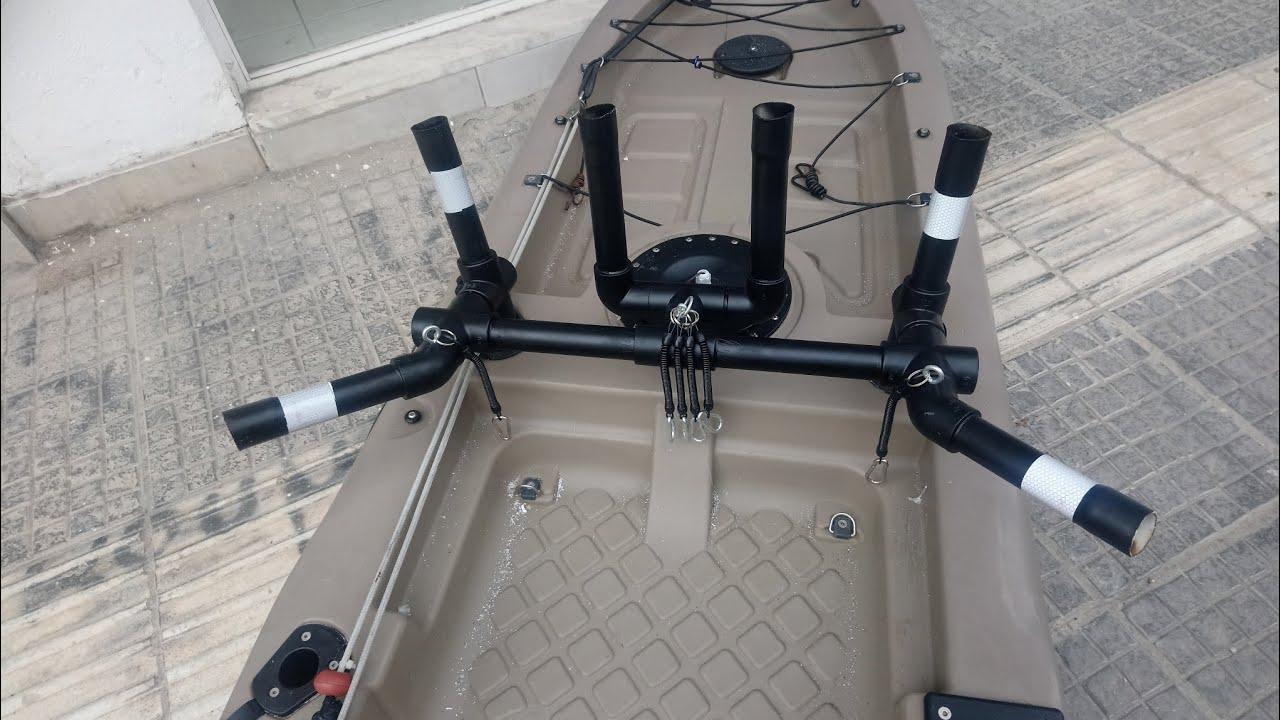 Rod holder for kayak-DIY Kατασκευη καλαμοθηκης για ψαρεμα απο σωληνες pvc για Kayak
