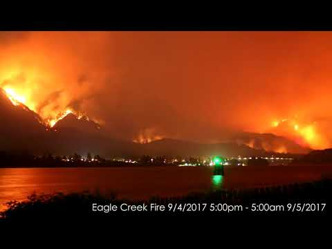 Time-lapse: Columbia River Gorge fire, Sept. 5, 2017