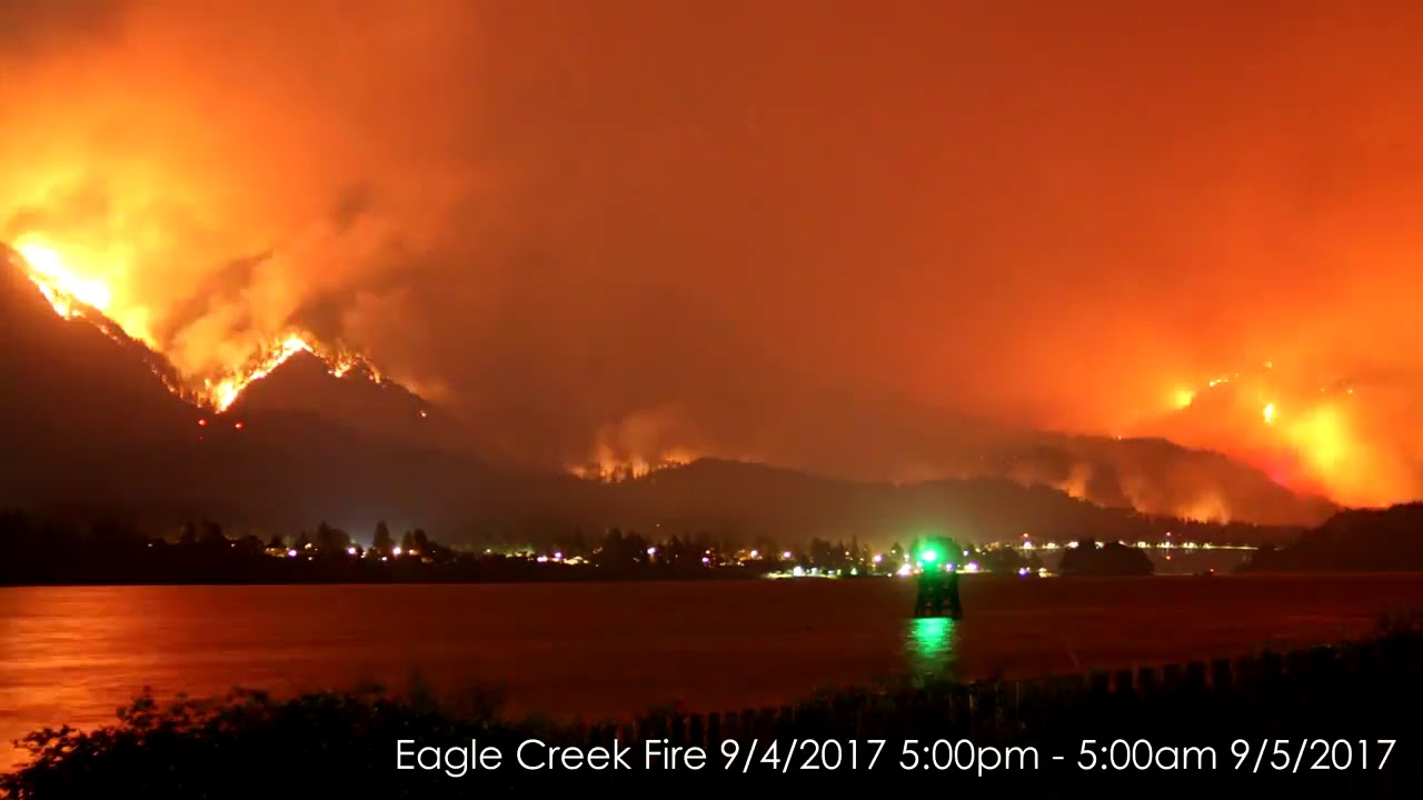 time-lapse  columbia river gorge fire  sept  5  2017