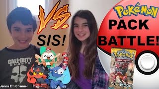 Pokemon Pack Battle: VS. SIS! Pokemon Sun & Moon! Jenna Em