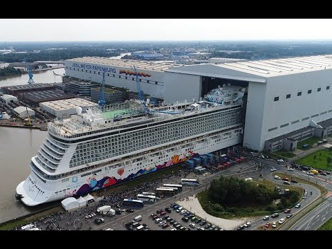 4K | Amazing Float Out WORLD DREAM at Meyer Werft Shipyard | Aerial Shots
