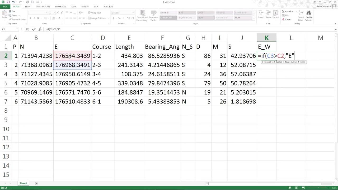 Bearings and Distances from Northings and Eastings in Excel