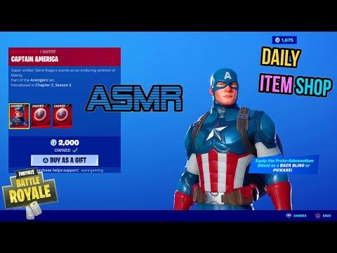ASMR   Fortnite NEW Captain America Avengers Skin! Daily Item Shop Update 🎮🎧 Relaxing Whispering 😴💤