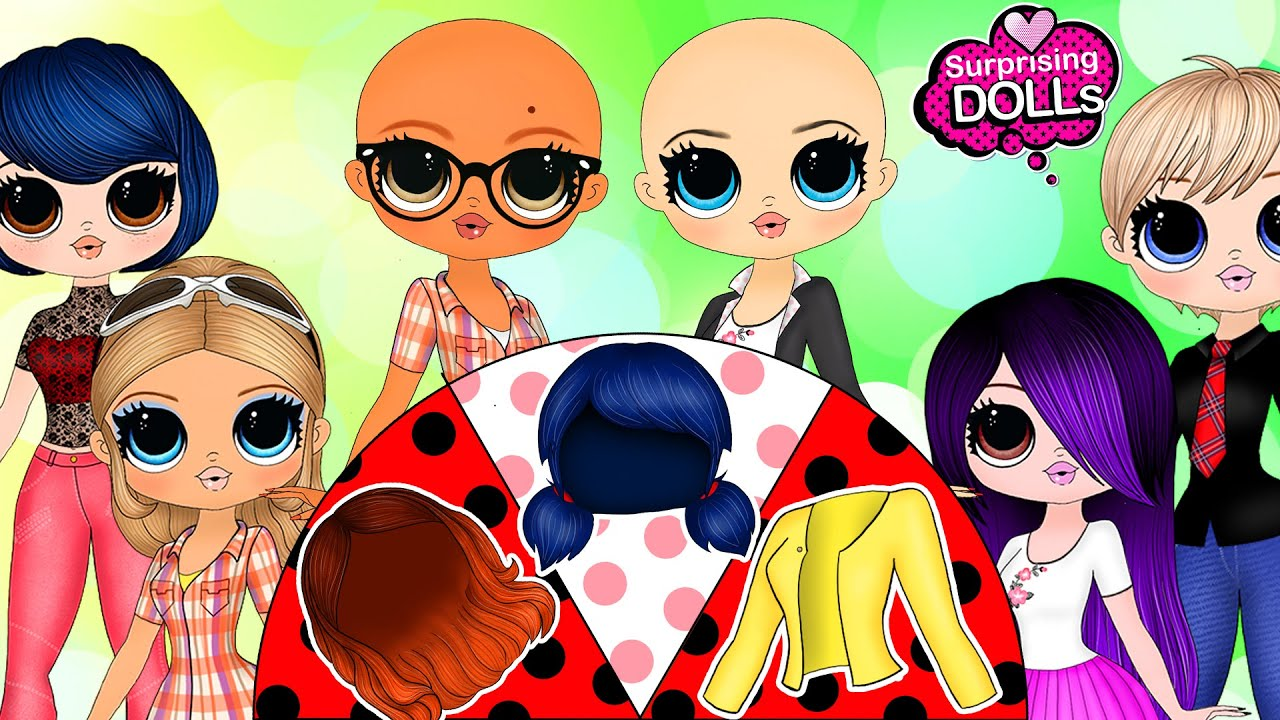 Download Miraculous Ladybug: Clothes Switch Up and Wigs - DIY Paper Dolls & Crafts