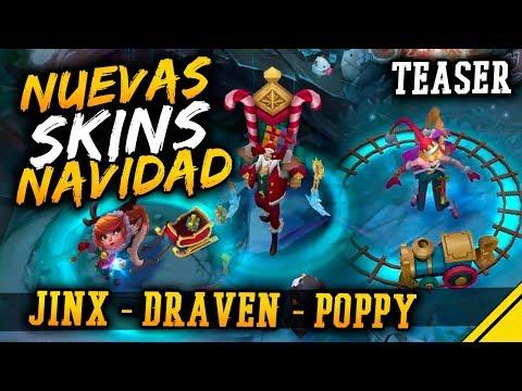NUEVAS SKINS de NAVIDAD - JINX, DRAVEN, POPPY - TEASER   Noticias League Of Legends LoL