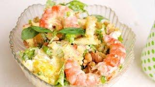 Праздничный салат из креветок с ананасами