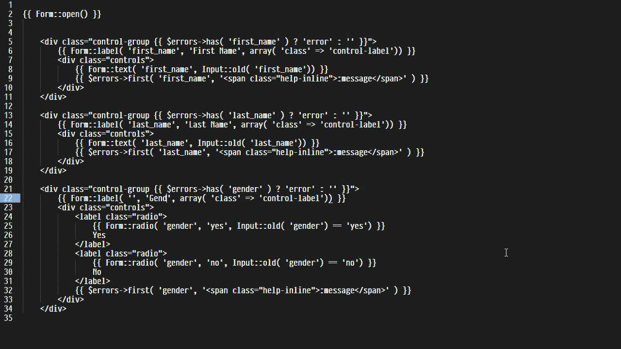 Laravel Forms + Bootstrap + Sublime Text 2 Snippets - YouTube