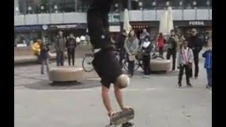 old man doing skateboard tricks