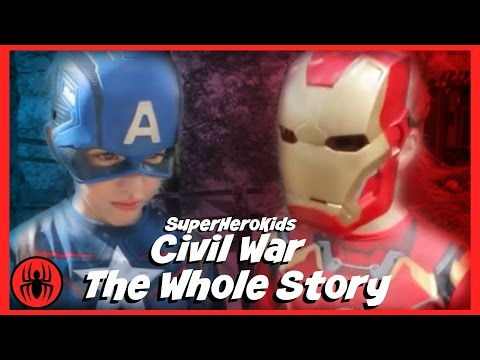 The Whole Story: Civil War Captain America vs Ironman Spiderman fun in real life superherokids movie