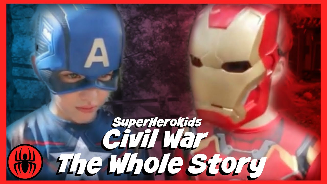 The Whole Story: Civil War Captain America vs Ironman Spiderman fun in real life superherokids movie #1