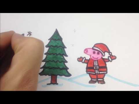 Peppa Pig Draw and Color as Santa Clause for Christmas | Dumbo at Art