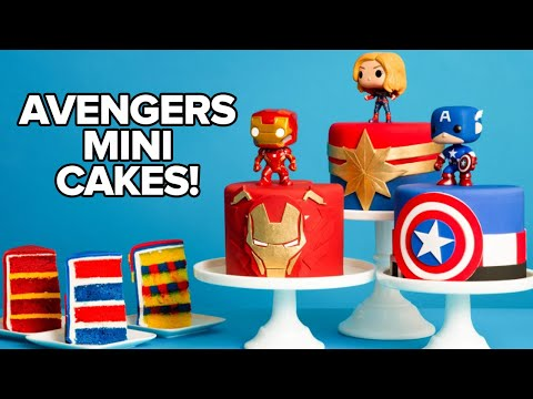 Marvel Avengers Mini Cakes | Endgame Premiere Party | How To Cake It