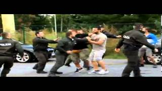 AEK ATHENS HOOLIGANS AGAINST POLICE AND DINAMO MINSK FANS