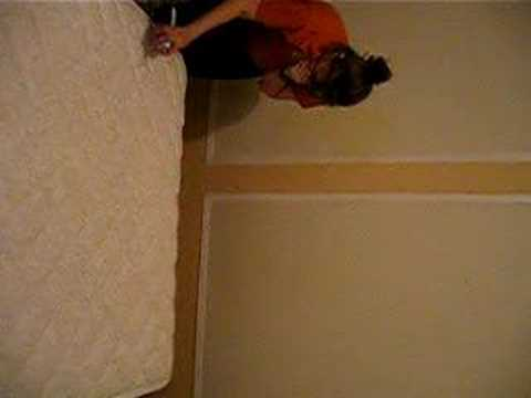 Jess spraying mattress for bed bugs