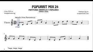 24 de 30 Popurrí Mix Partituras de Flauta Melodía China Pentatónica Tengo Tengo Con el guri
