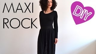 DIY Anleitung Langer Rock aus schwarzer Spitze Maxirock selber machen - Nähen für Anfänger