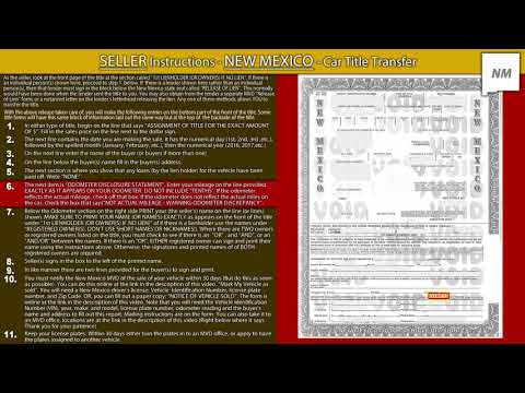 New Mexico Title Transfer Seller Instructions Youtube