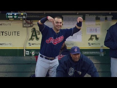 Brantley doubles, just misses solo home run