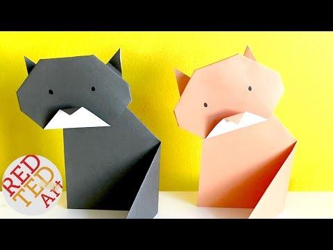 Easy Origami Cat - Paper DIYs - Origami for Kids (Very Easy)