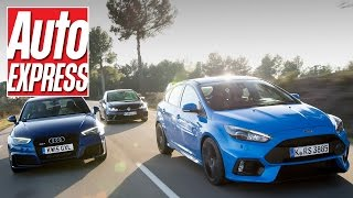 Ford Focus RS vs Audi RS3 vs Volkswagen Golf R review: mega hatch road test!(Ford's new Focus RS has arrived and is ready to ask big questions of all its hot hatch rivals, including the Audi RS3 and VW Golf R. Road test editor James ..., 2016-02-17T00:00:00.000Z)