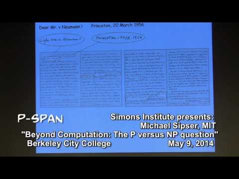 "P-SPAN #373: ""Beyond Computation: The P versus NP Question"" lecture by Dr. Michael Sipser"