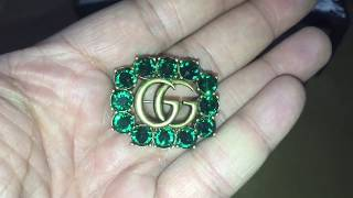GUCCI GG JWELLERY. Green Emerald coloured  Crystal Embelished Brooch. Box Opening and Review