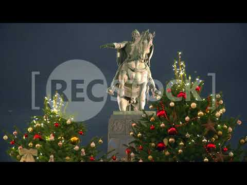 Moscow. New Year and Christmas. Monument Yury Dolgorukiy. 4K & HD