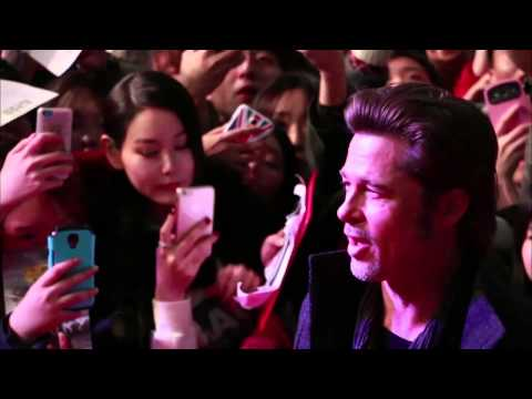 Fury: Brad Pitt & Logan Lerman Arrive to the South Korea Red Carpet Movie Premiere