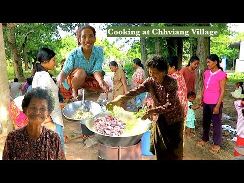 Villagers Cooking Traditional Khmer Foods at Chhviang Villag