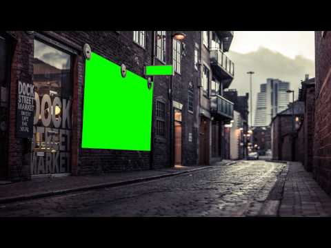city street adv banner in green screen free stock footage