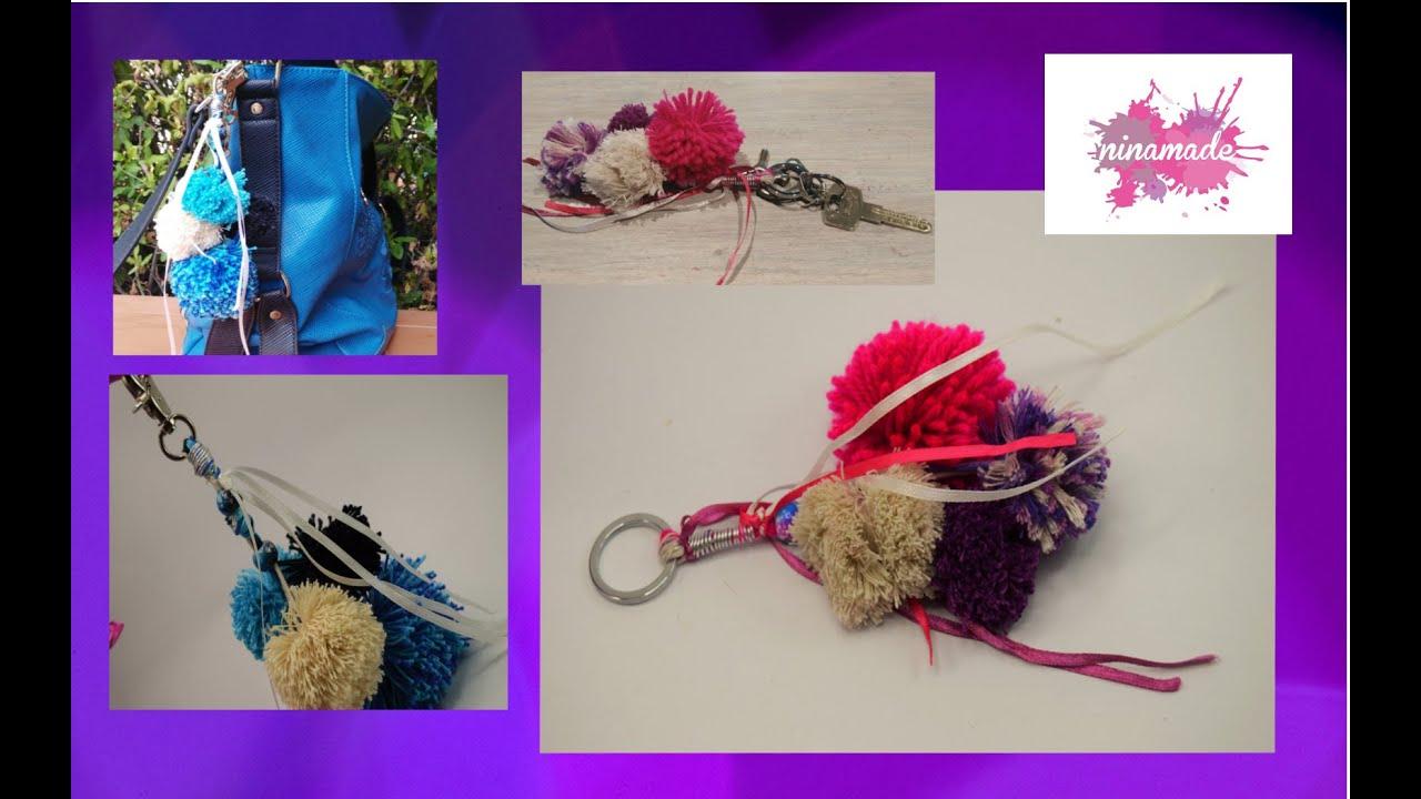 Diy bijou de sac ou porte clef avec des pompons key ring - Clef a laine ...