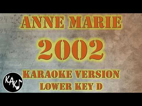 Anne Marie - 2002 Karaoke Lyrics Cover Instrumental HD Lower Key D