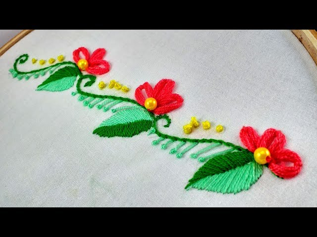 Hand Embroidery  Border Line Embroidery  Design For Dress, Kameez,Saree.