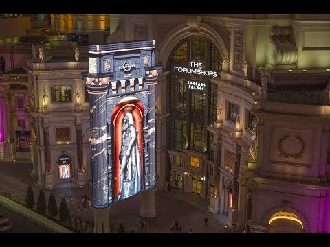 New 85 FOOT Digital Marquee - The Forum Shops at Caesars Palace