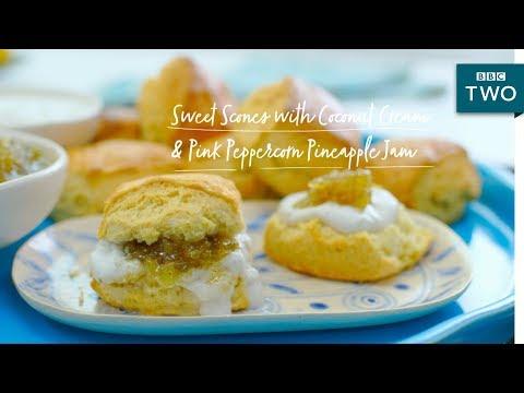 Coconut Cream Pineapple Jam Scones Nadiyas British Food