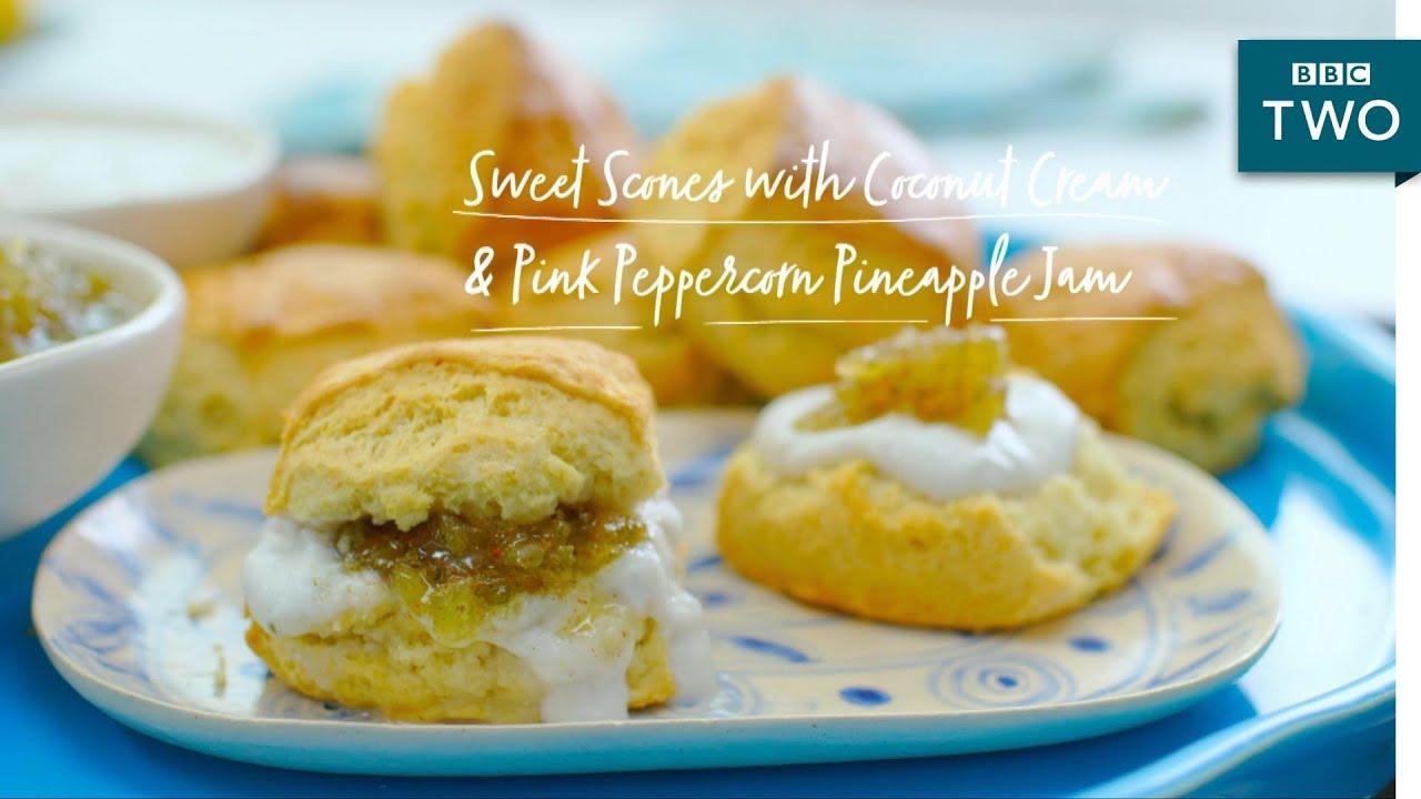 Coconut Cream Pineapple Jam Scones Nadiyas British Food Adventure Episode 7 Bbc Two