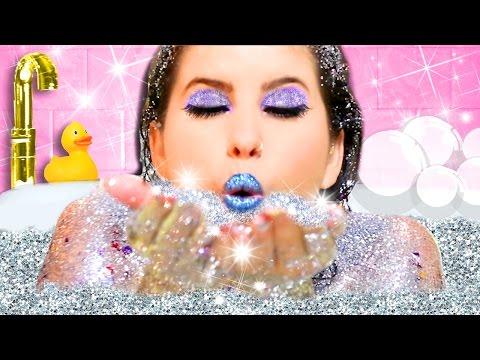 GLITTER BATH CHALLENGE, MAKEUP & DIYS!   I BATHE IN GLITTER SOAP, SHAMPOO & BATH BOMB!