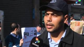 Palestinians protest after the al-Mayadee tv station was cut
