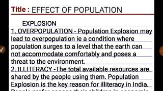 Effects of POPULATION EXPLOSION