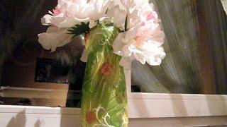 Декупаж вазы из пластиковой бутылки. Мастер-класс(В этом видео я поделюсь с Вами как быстро и оригинально сделать вазу..... из обычной пластиковой бутылки и..., 2016-03-12T22:00:00.000Z)