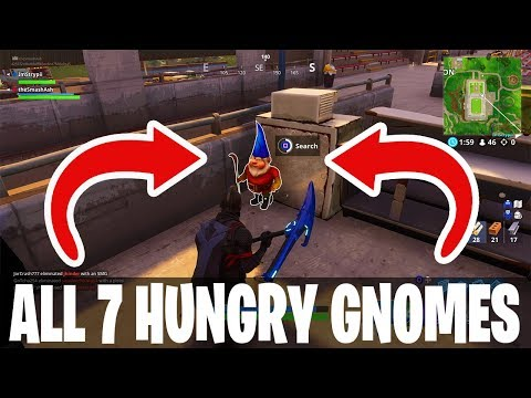 ALL 7 HUNGRY GNOME LOCATIONS | EASIEST 7 LOCATIONS GUIDE | FORTNITE BATTLE ROYAL