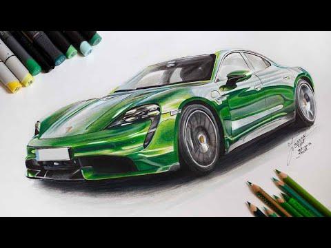 Speed Drawing: Porsche Taycan - Justinas Kyga
